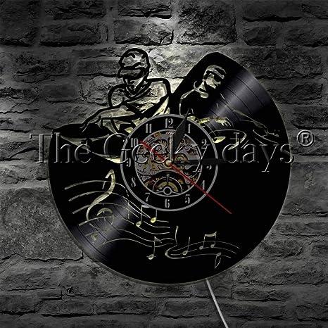 DFRTY 1 Pieza DJ Record Player Mixer LP Disco de Vinilo Reloj de Pared Spinning Scratching Album Moderno Reloj de Pared Discoteca Club de Pared: Amazon.es: Hogar