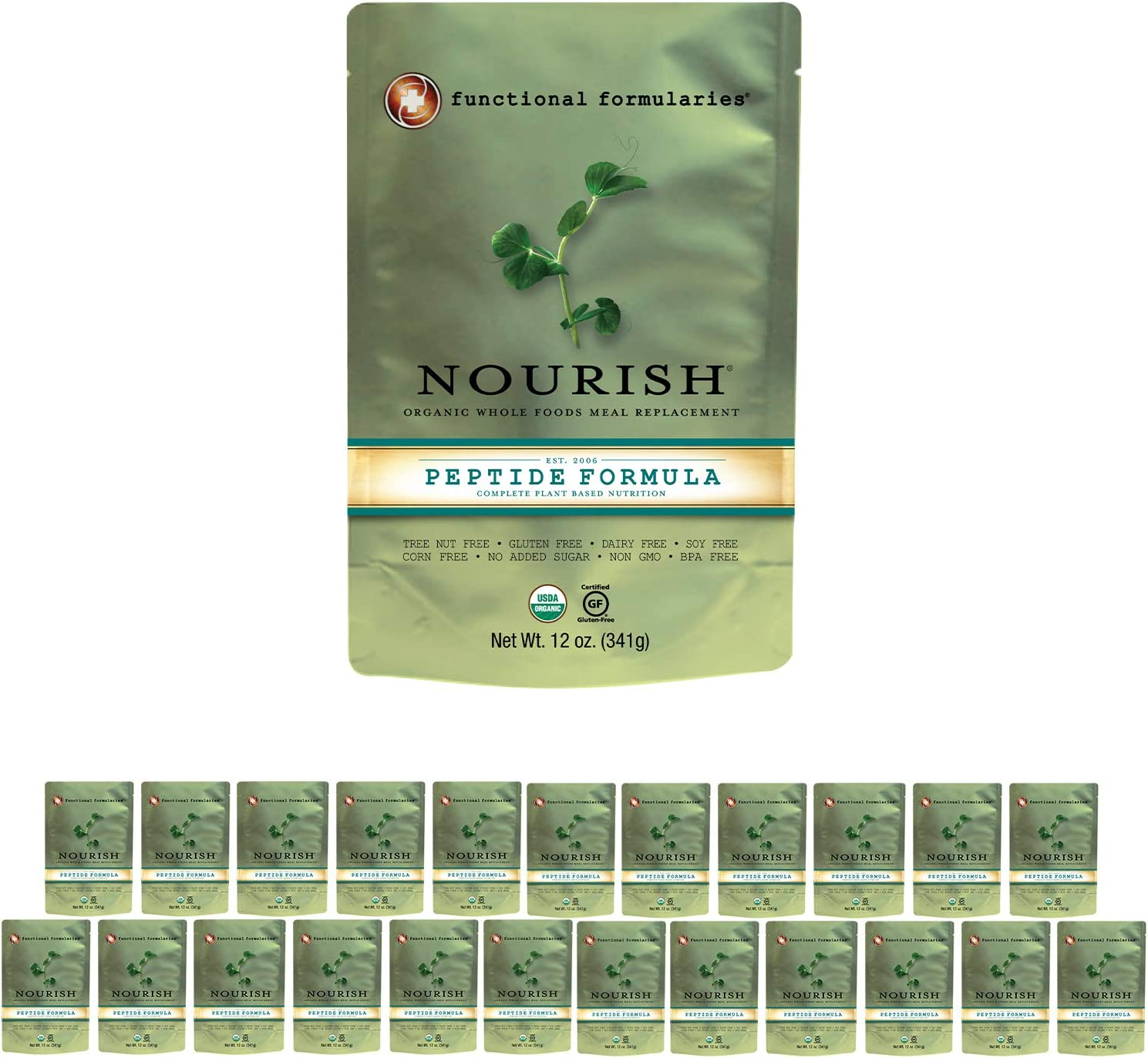 Functional Formularies Nourish Peptide Organic Tube Feeding Formula and Nutritional Meal Replacement Supplement, 24 Pack
