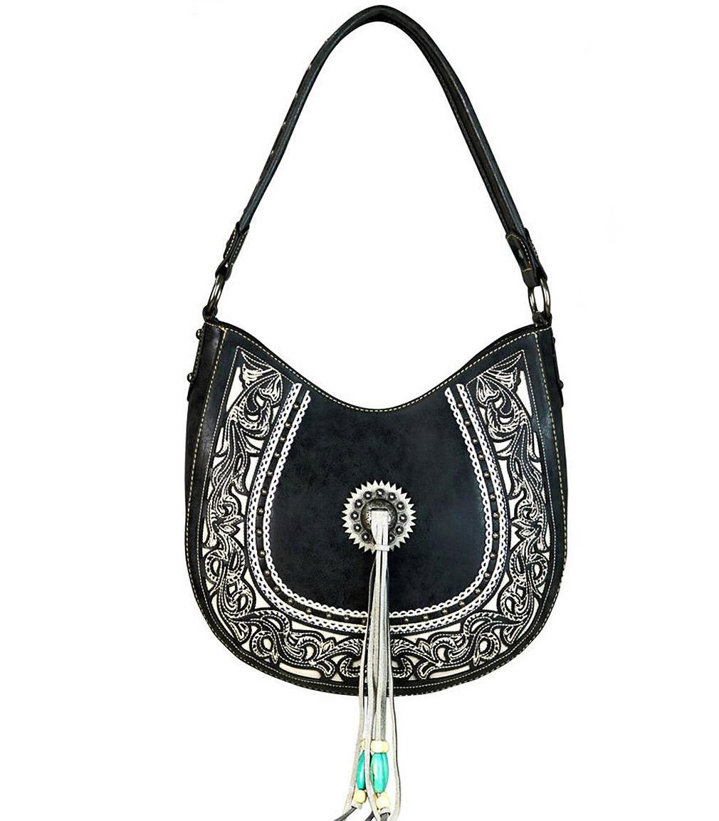 New! Montana West Concealed Carry Tribal Boot Scroll Embroidered Hobo(Black)
