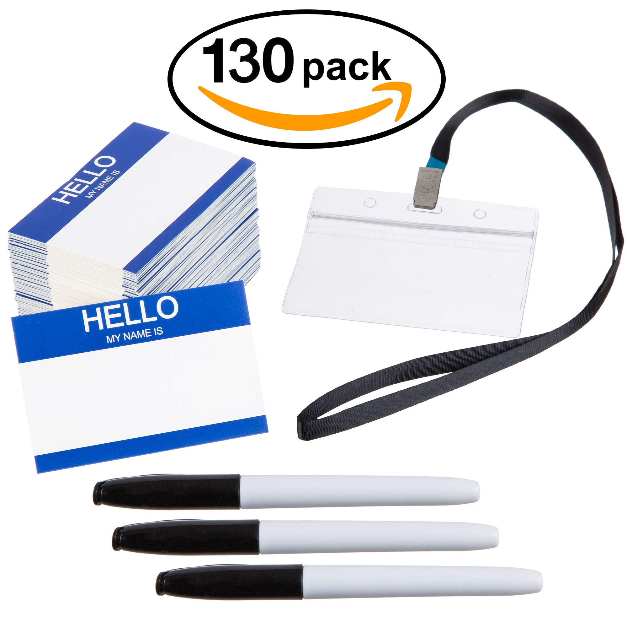 Name Tag ID Badge Holder Lanyards and Pens (130 Sets - Horizontal) - Waterproof Plastic for Business Events and Conferences