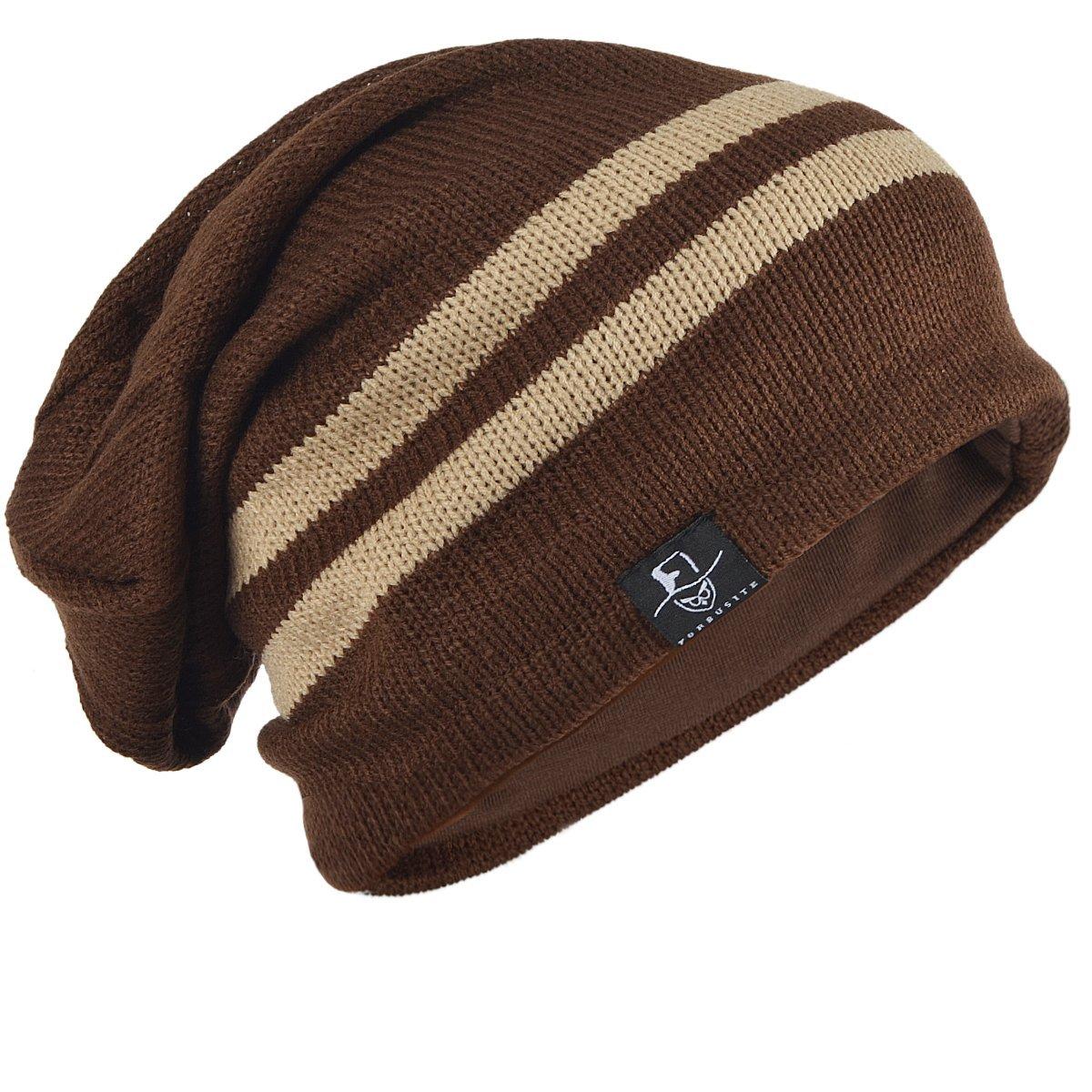 Vintage Men Baggy Beanie Slouchy Knit Skull Cap Hat (B318-Brown) at ...