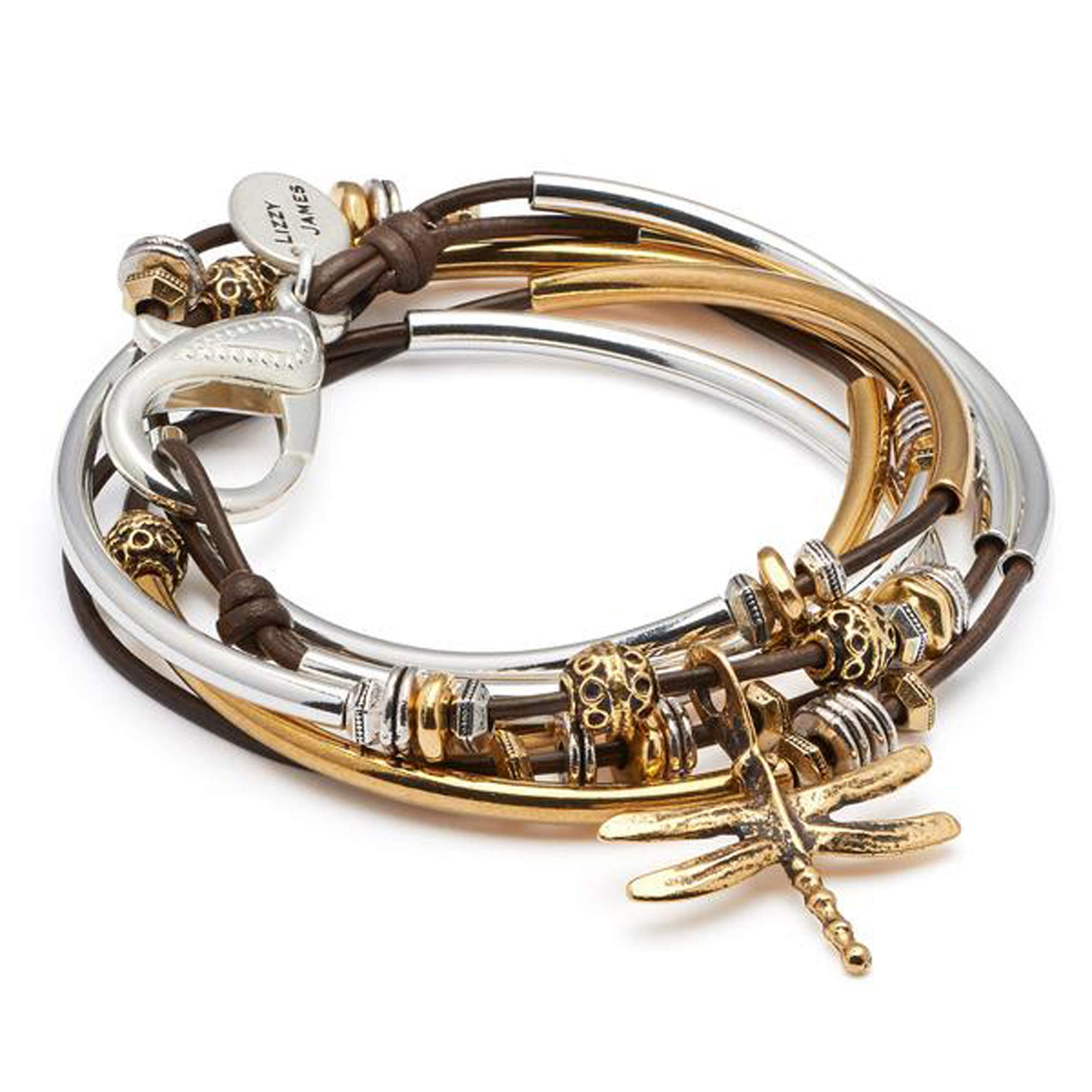 Lizzy James Misty Silver and Gold Charm Bracelet in Gloss Chocolate Leather w Gold Dragonfly Charm (Medium) by Lizzy James