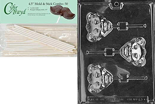 Cybrtrayd 45St50-M080 Graduation Owl Lolly Miscellaneous Chocolate Candy Mold with 50-Pack 4.5-Inch Lollipop Sticks