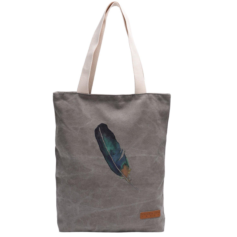 Vintga Women Canvas Shoulder Bag Large Satchel Handbag Tote Bags Purses Work Bag Ladies Zippered Weekend Shopping Bag (feather gray)