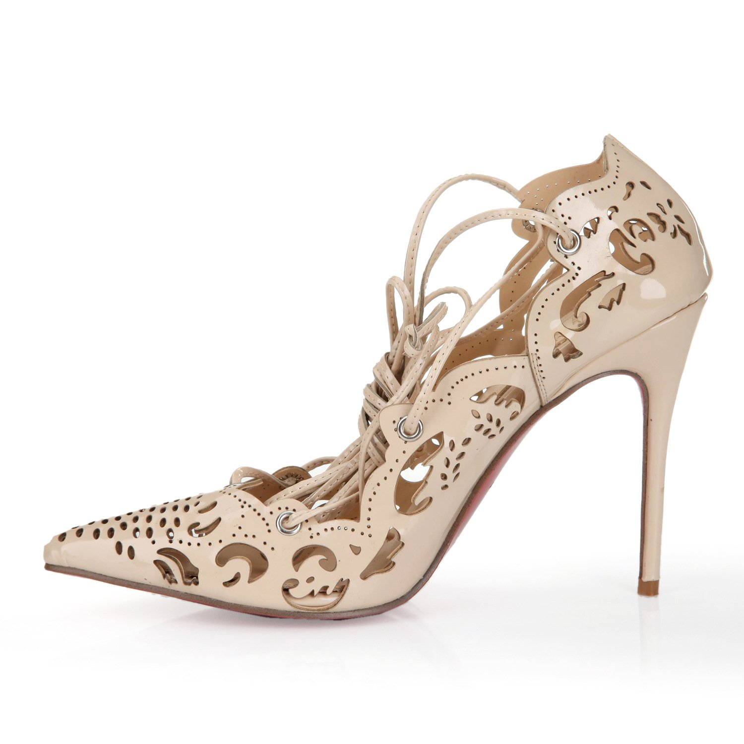 Shoemaker'S Heart The New European Summer Stilettos Laser Shoes Nude Sexy Leather Strap Pointed Shoes Nude Color Forty-One