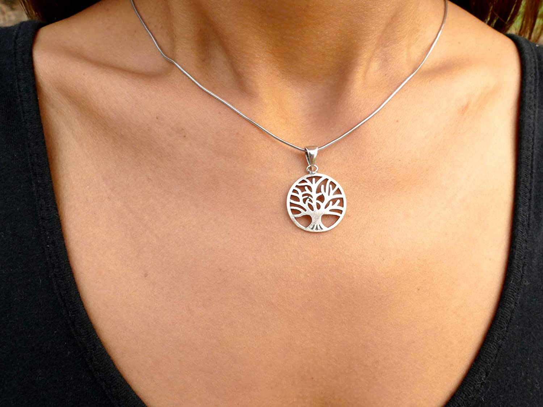 Nature Rebel Anh/änger Tree of Life Lebensbaum 925 Sterling Silber matt geb/ürtstet