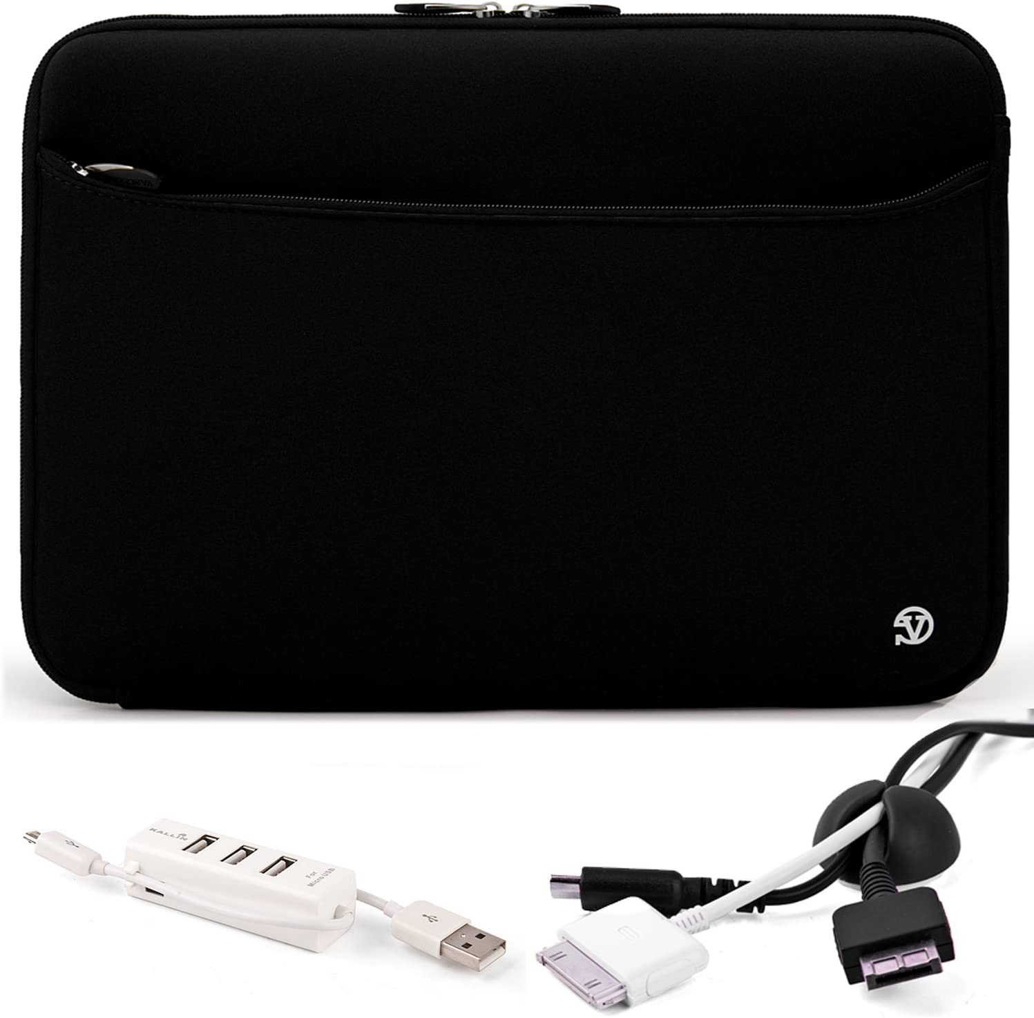 Carry On Travelling Convinient Soft Neoprene Sleeve Case For SONY VAIO T Series 13.3 inch Touchscreen Ultrabook and Black Cable Organizer and White 3 Port USB HUB with Micro USB Charger