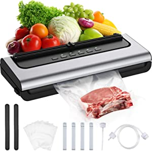 Vacuum Sealer Sealing Machine Food Saver 80Kpa 7-in-1 Built-in Cutter Compact Design Led Indicator Lights One-Touch Operation Dry & Moist Food Modes Easy Cleaning 10 Vacuum Bags