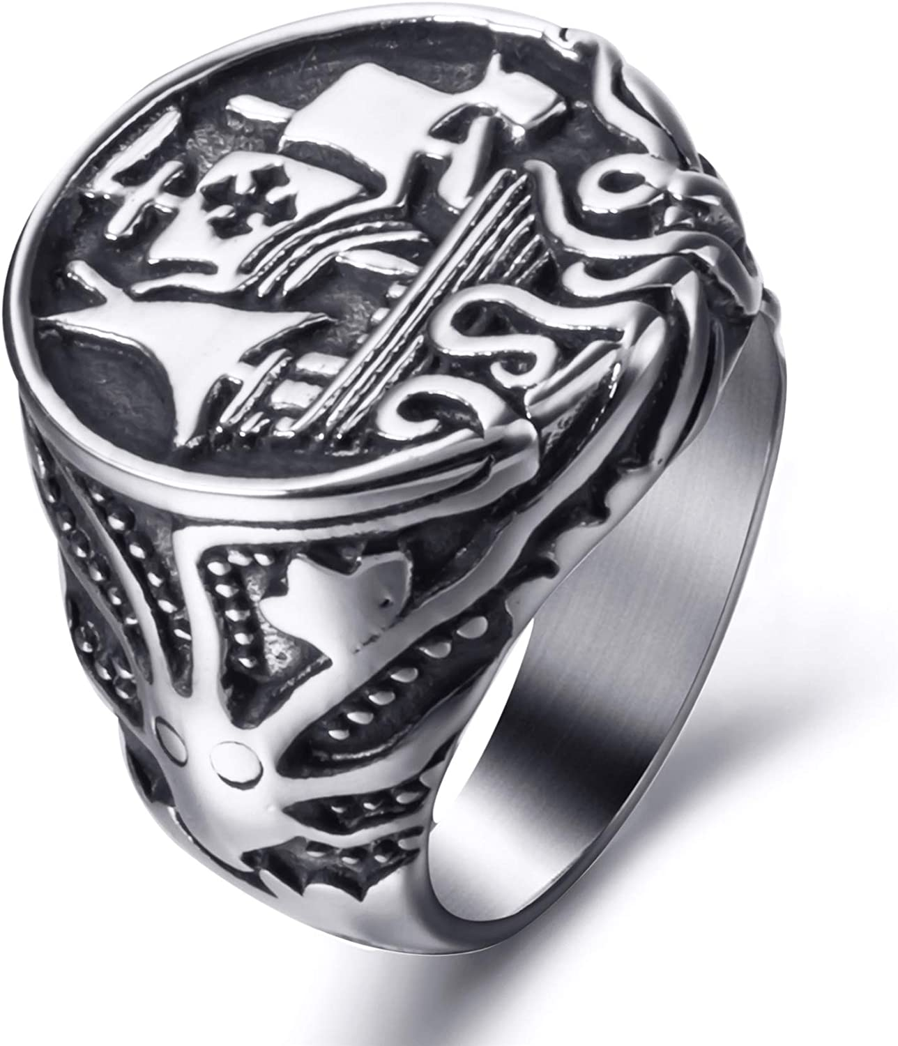 Elfasio Viking Drakkar Ship Kraken Norse Sea Monster Octopus Squid Tentacle Stainless Steel Vintage Ring