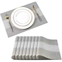 JUJIN Placemats Set of 6 Non-Slip Washable PVC Heat Resistant Table Mats for Dining Table White