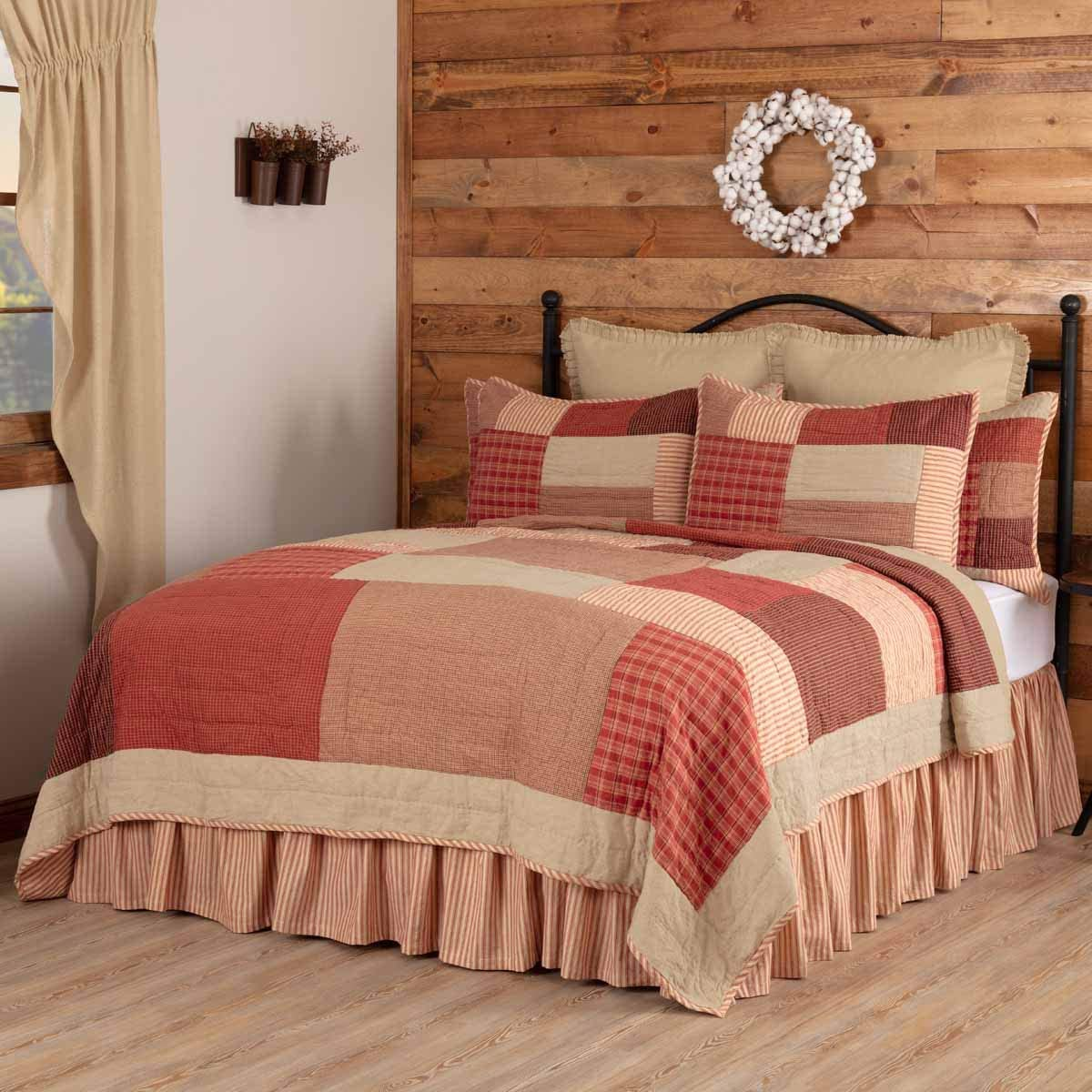 VHC Brands Rory Schoolhouse Patchwork Farmhouse Cotton Reversible Ticking Stripe Bedroom Quilt, California King-130×115, Red