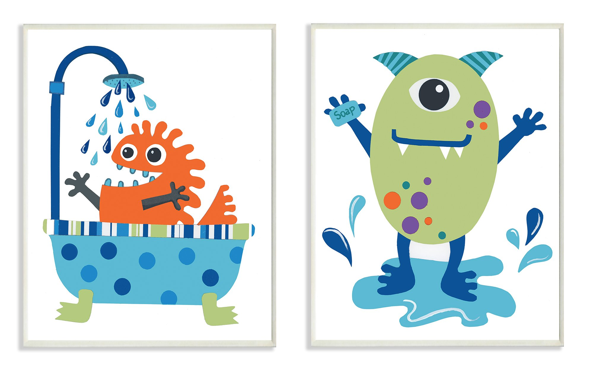 Stupell Home Décor Monsters Bathroom Buddies 2pc Wall Plaque Art Set, 10 x 0.5 x 15, Proudly Made in USA by The Kids Room by Stupell