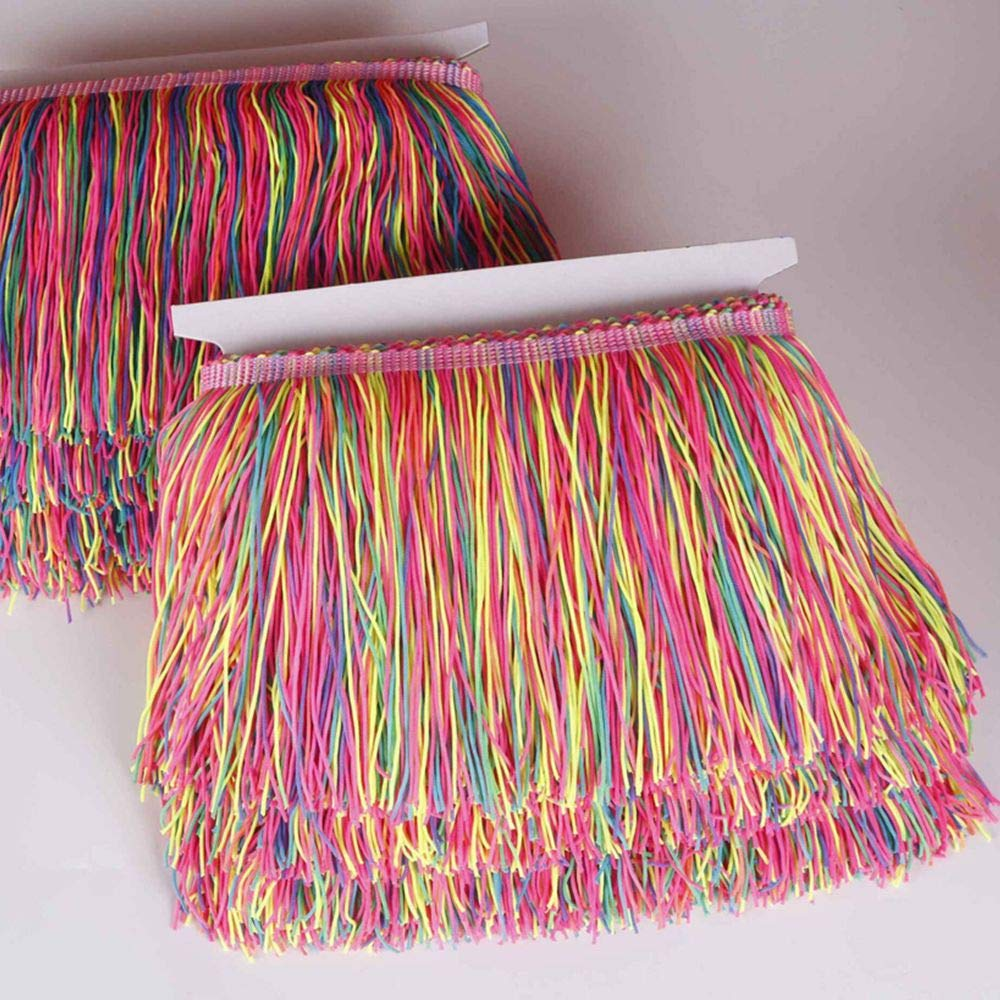 Heartwish268 Fringe Trim Lace Nylon Fabric Tassel 6inch Wide 10 Yards Long for Clothes Accessories Latin Wedding Dress DIY Lamp Shade Decoration Rainbow Neon Mixed Color by Heartwish268