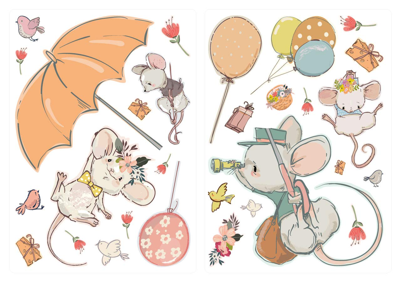 WAS-13070 Childrens Room Deco Watercolour Wall Tattoo Mouse Family Animal Baby