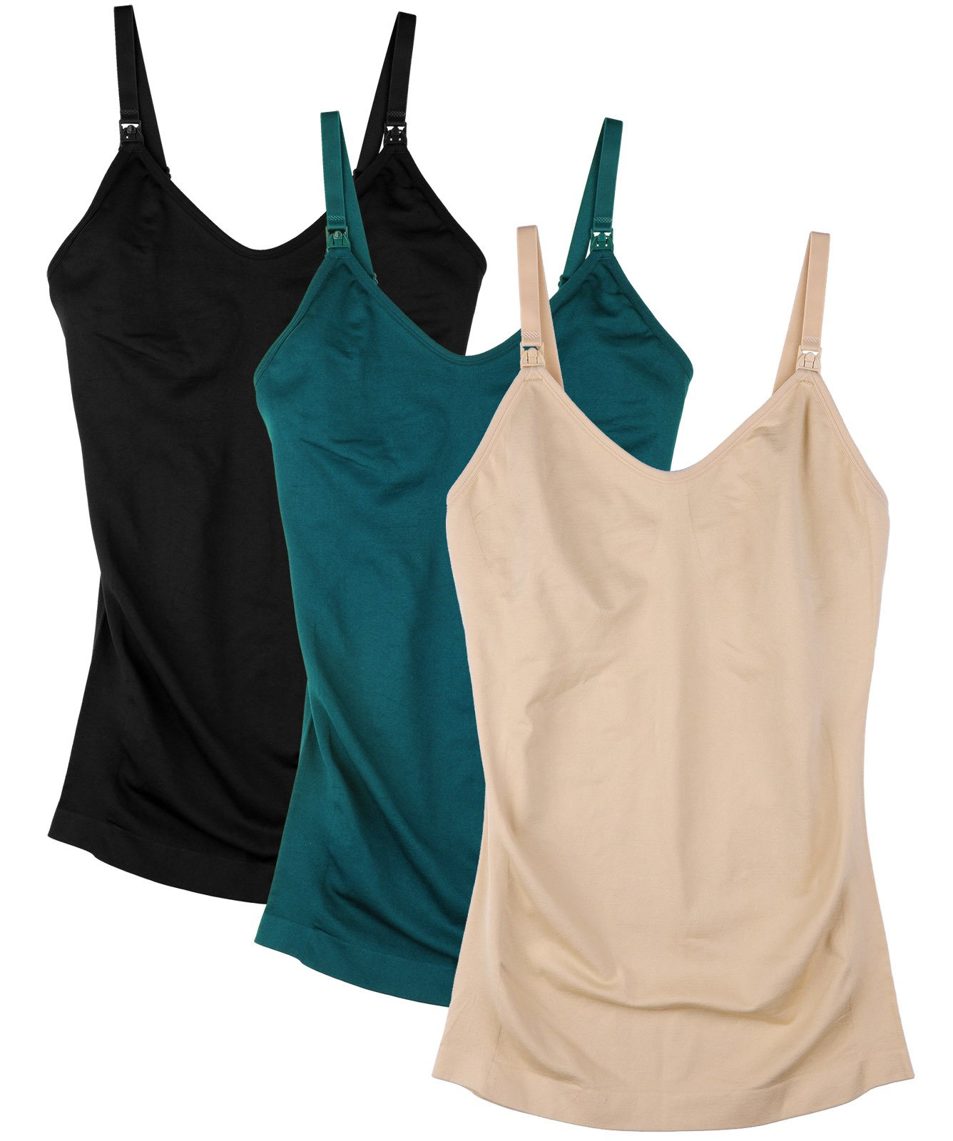 Daisity Womens Wirefree Nursing Tank Seamless Maternity Cami for Breastfeeding Color Black Green Beige Pack of 3 Size XL