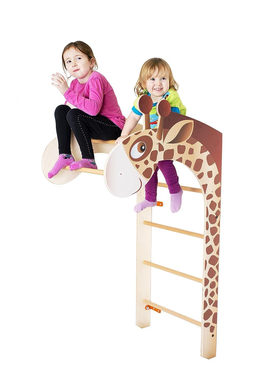 TRIHORSE ® Sprossenwand Jumbo Giraffe für Kinderzimmer MassivHolz Natur Jumbo
