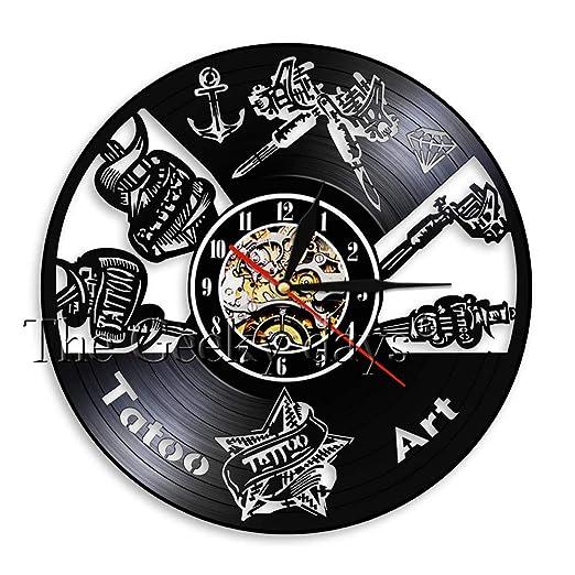 OLILEIO Reloj de Pared con Vinilo de Tatuaje Personalizado ...