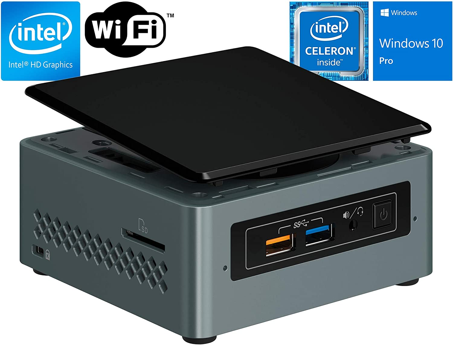 Intel NUC 6 Essential Kit (NUC6CAYH), Intel Celeron J3455, 8GB DDR3, 256GB SSD, 4k Support, Dual Monitor Capable, WiFi, Bluetooth, Windows 10 Professional 64Bit … (Celeron|Tall| 8GB Ram + 256GB SSD)