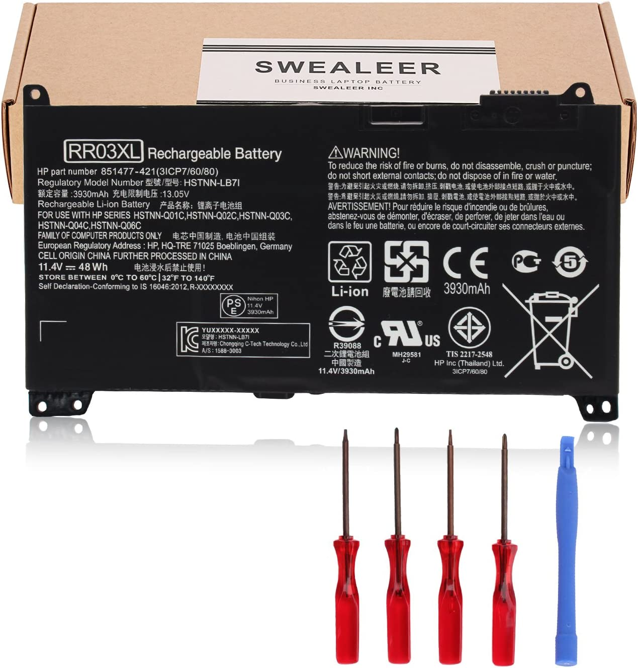SWEALEER Compatible RR03XL HSTNN-Q02C Battery if Applicable HP ProBook 430 440 450 455 470 G4 mt20 Replacement for 851477-421 851477-541 851477-831 HSTNN-UB7C 851610-850 HSTNN-LB7I [11.4V 48Wh RR03XL]