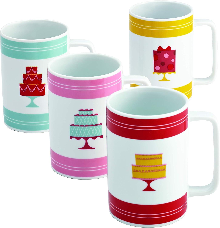 Print Mini Cakes Pattern Cake Boss Serveware 4-Piece Porcelain Mug Set