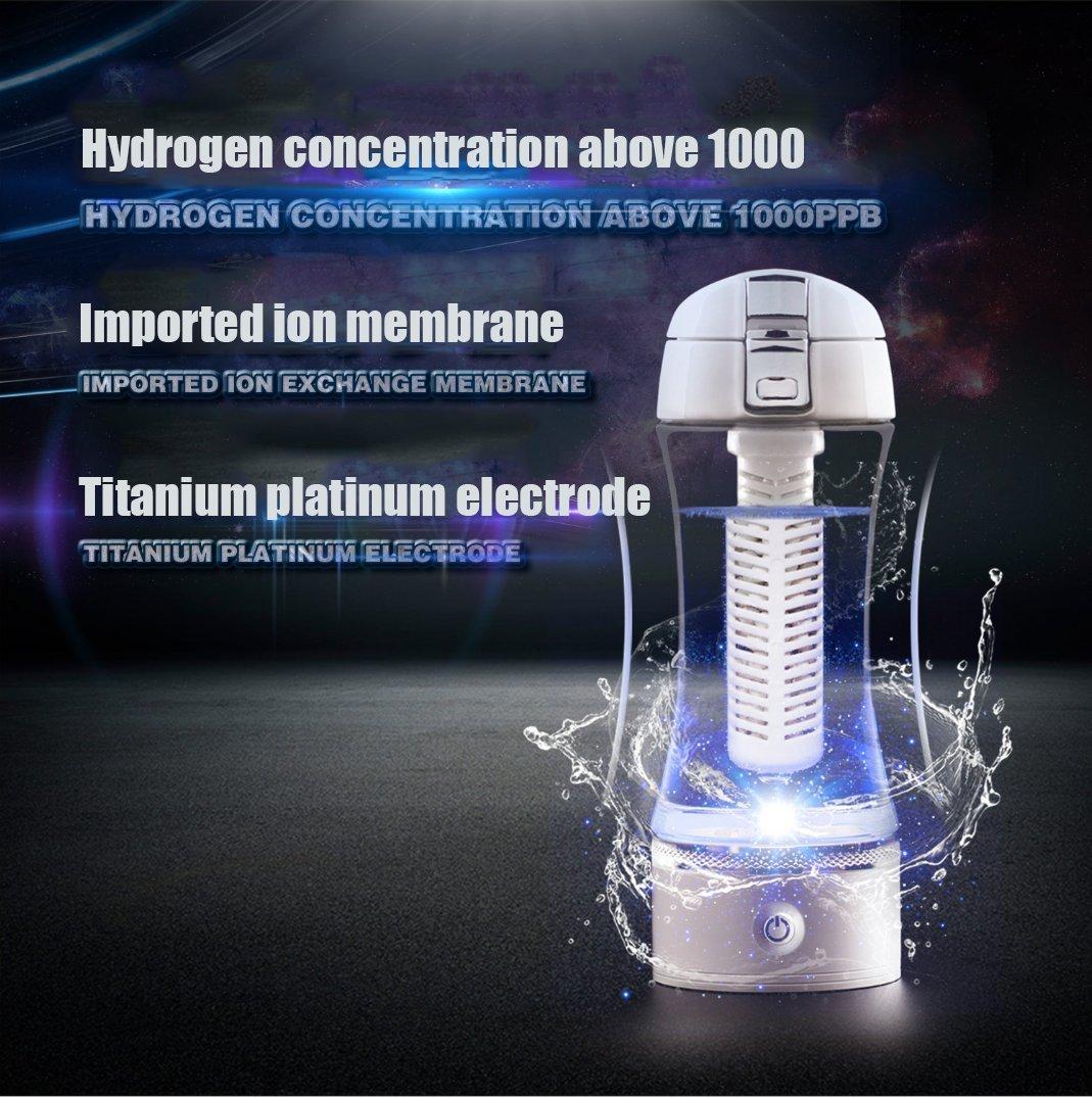 Spatial Element Portable Wasserstoffreiche 3 Minuten Wasserstoffreiche Portable Wasserflasche Wiederaufladbare Ionen-Wasser-Generator Glasflasche Anti-Aging-Antioxidans Wasserflasche 380 Ml 450ab3