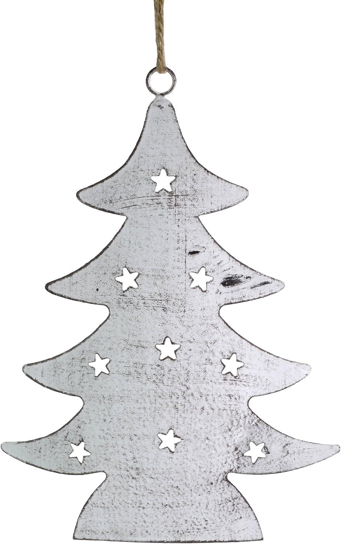 "Napa Home & Garden 7.5"" Rustic Cut Tin Christmas Tree Ornament, Brown Whitewash"