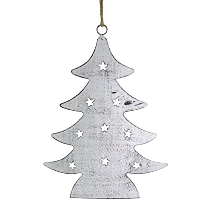 Napa Home U0026 Garden 7.5u0026quot; Rustic Cut Tin Christmas Tree Ornament, Brown  Whitewash