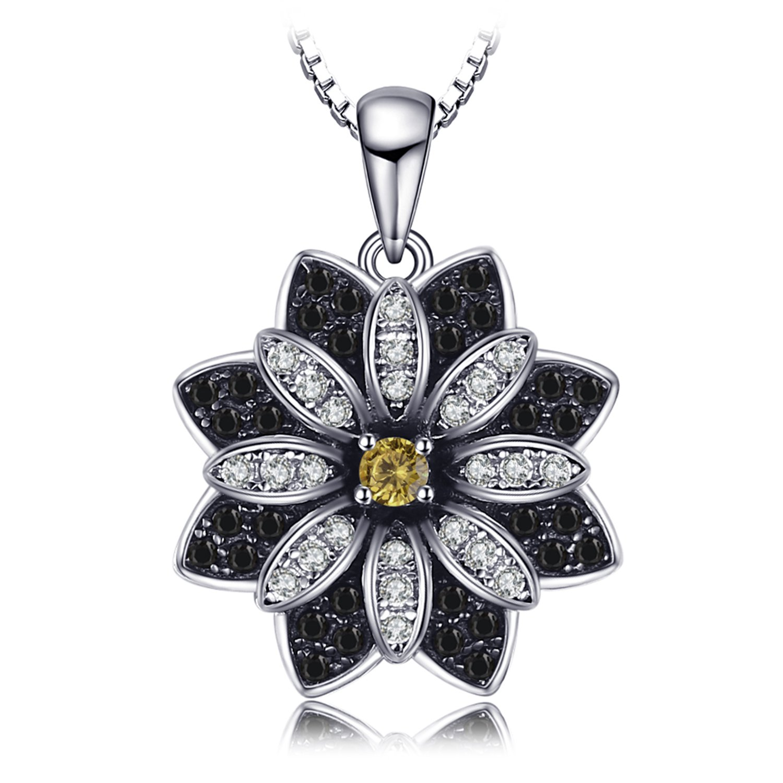 JewelryPalace Blume runde echte Taupe rauchige Quarz schwarze Spinell Anhänger Halskette 925 Sterling Silber 18 Zoll EU-AP802110N18