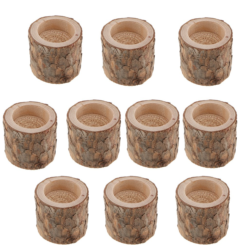LOVIVER 50x Wood Tree Stump Tealight Candle Holder Candlestick Stand for Wedding by LOVIVER