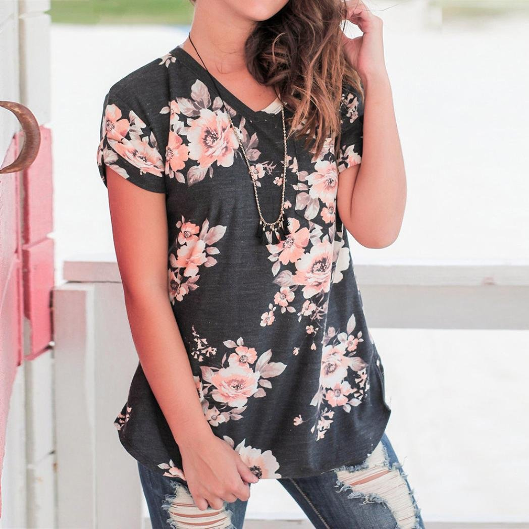 NREALY Women Ladies Casual Floral Print Short Sleeve Blouse O-Neck Pullover Tops Shirt(Black ,Large by NREALY (Image #3)