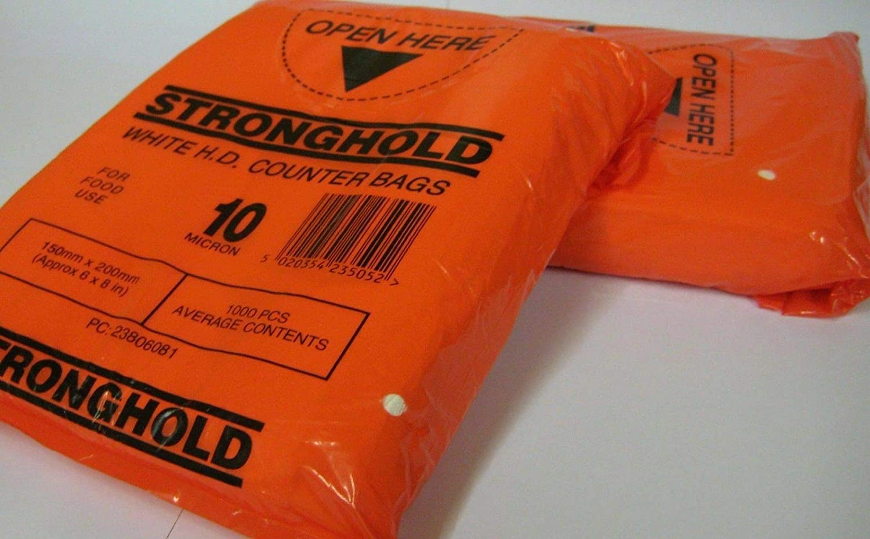Bolsa de pl/ástico de polietileno HD para uso alimentario 15,2 x 20,3 x 25,4 cm aprox color blanco bolsas de 10 micras seguras para alimentos 12x15 300x375mm 1000 unidades 5 tama/ños para elegir