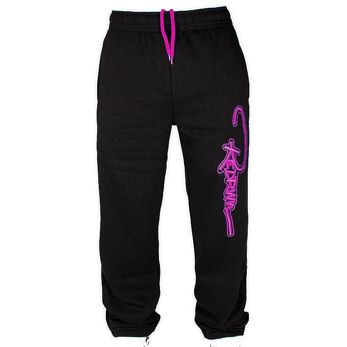 Pantalón deportivo para hombre de color negro con logo rosa neón