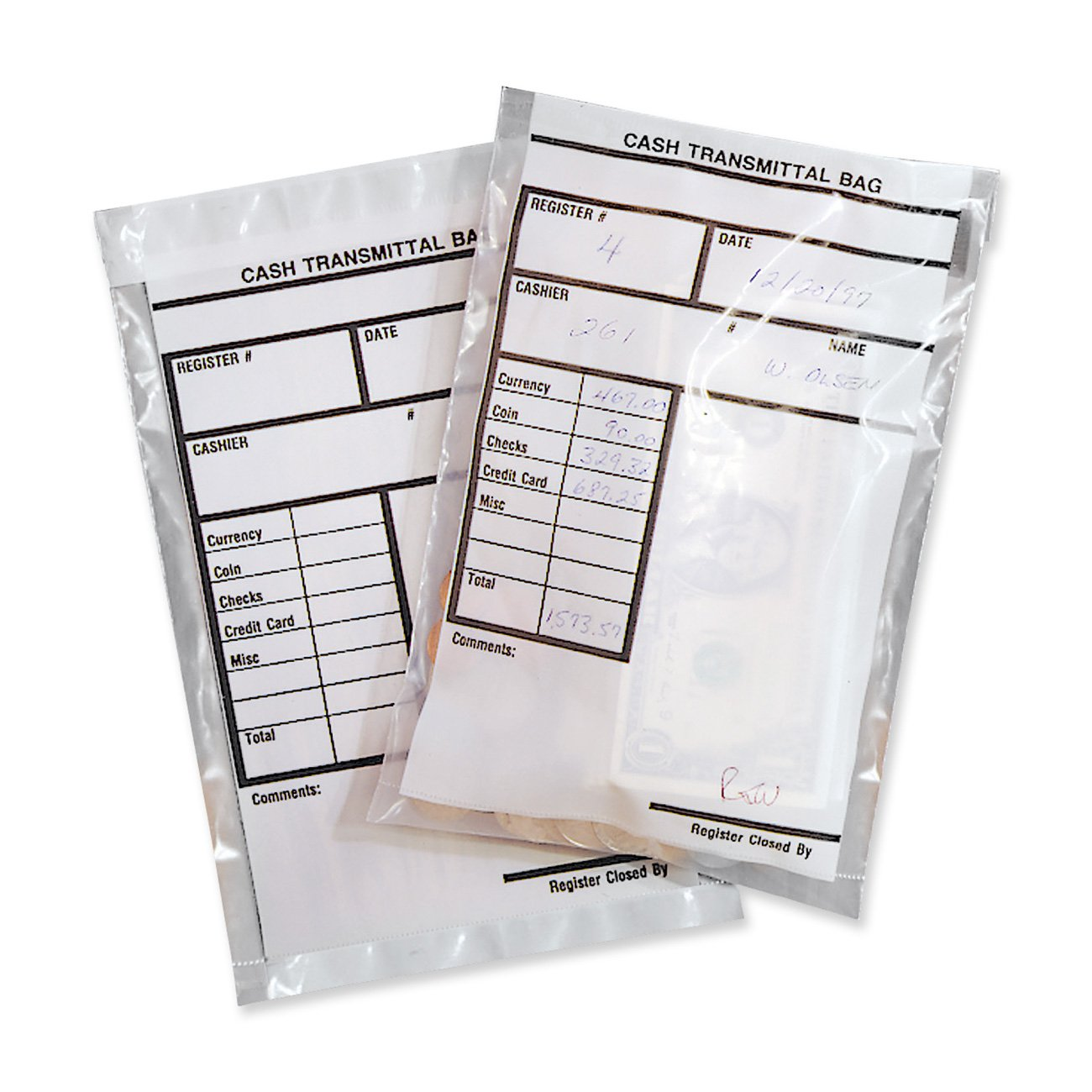 MMF Industries Cash Transmittal Bags, Self-Sealing with Permanent Adhesive, 6 x 9 Inches, Clear, 500 Bags - (236006920) by MMF Industries