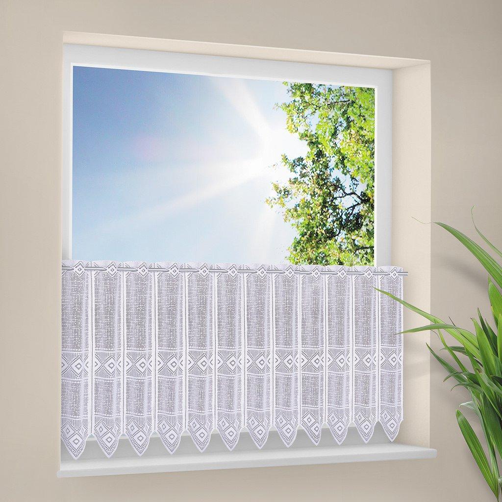 Tenda della finestra grafico altezza 30 cm | Può scegliere la larghezza in segmenti da 30 cm, come vuole | Colore: Bianco | Tendine cucina