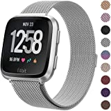 """Milanese Metal Bands Compatible for Fitbit Versa Bands/Versa Lite Edition Bands for Women Men, Replacement Stainless Steel Wristband Accessories Strap (S(5.1""""-7.9""""), Silver)"""