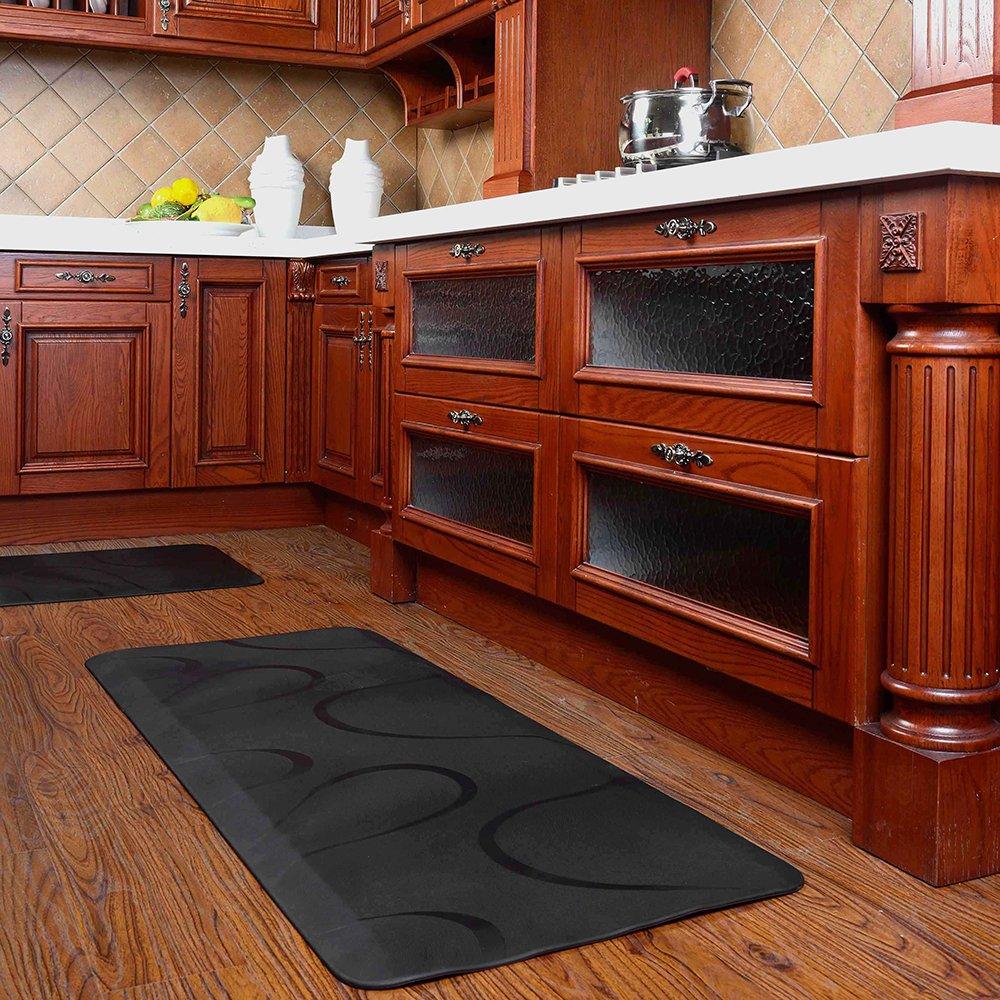 Chastep Premium Long Kitchen Floor Mats Non Slip Anti Fatigue Mat 24''x60'' No Curl & Smells, Black by Chastep