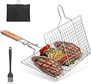 Huolewa BBQ Grill Basket, Portable Barbecue Grill Tool for Fish Vegetables Steak Shrimp Chops, Durable 304 Stainless Steel Grilling Basket, Bonus an Sauce Brush and Carrying Pouch