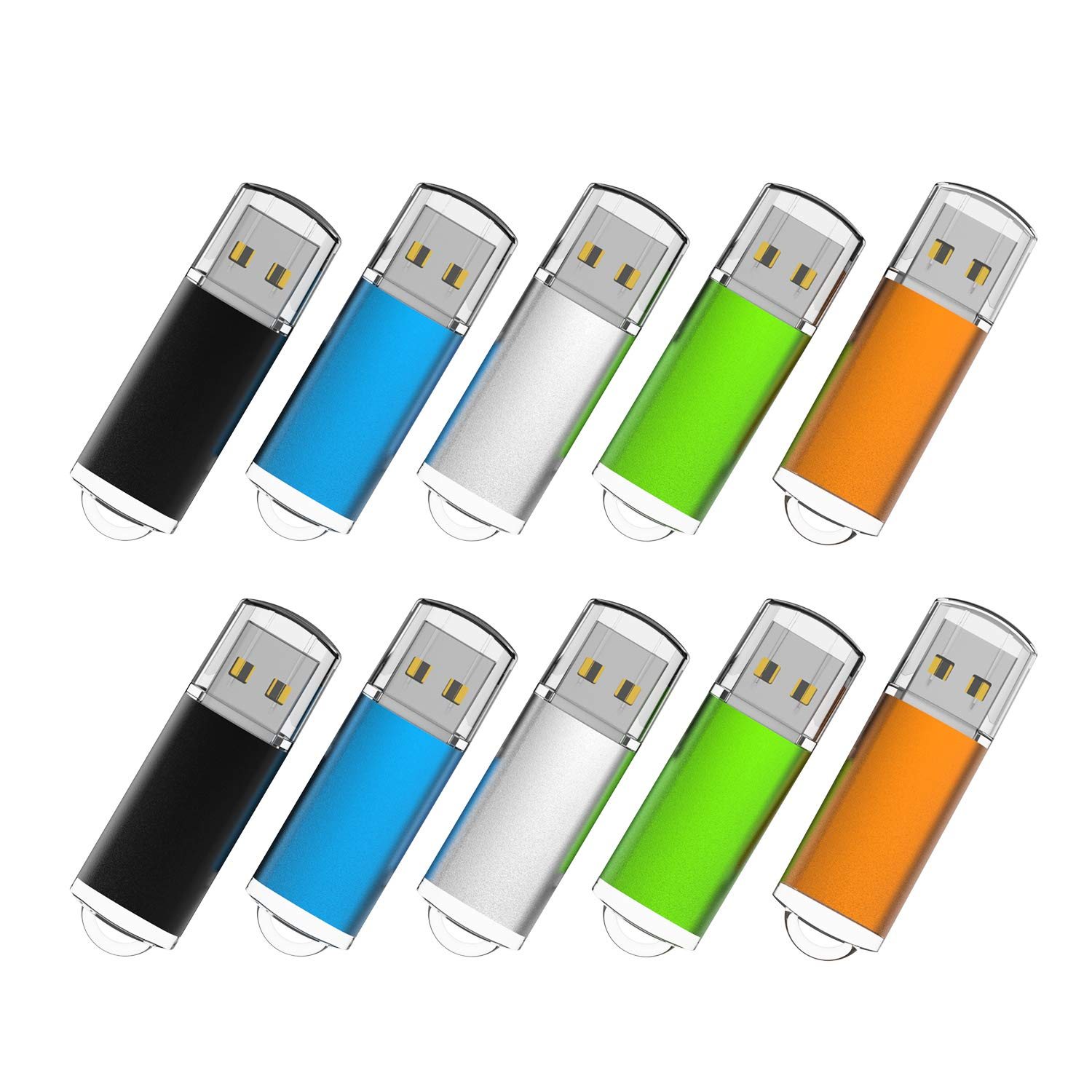 RAOYI 10PCS 64GB Bulk USB Flash Drives Thumb Drives Fold Storage Memory Stick USB 2.0 Jump Drive(5 Mixed Colors: Black Blue Green Orange Silver)