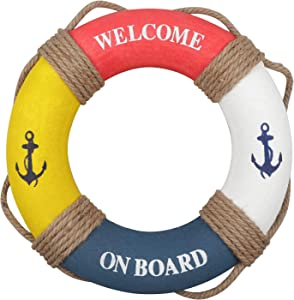 """Fangoo Nautical Lifering Nautical Decorative Life Ring Buoy Home Wall Door Hangings Decor,Red & Blue & White & Yellow 12.2"""" Inches"""