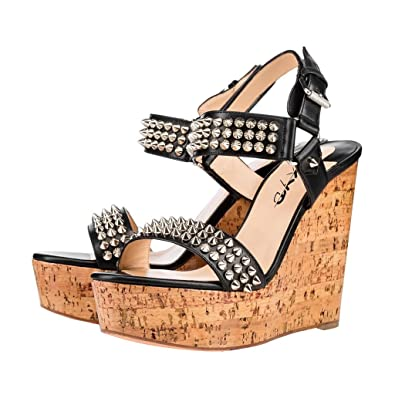 bb6dab8317be XYD Vintage Studded Wedges Sandals Open Toe Slingback High Heels Platform  Pumps for Women Size 4