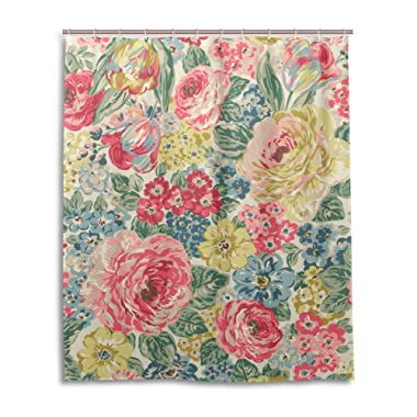 My Daily Vintage Flower Floral Shower Curtain 60 x 72 Inch, Mildew Resistant & Waterproof Polyester Decoration Bathroom Curtain
