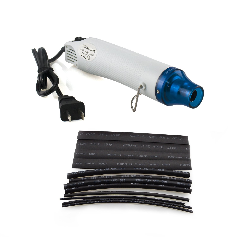 Heat Gun + Heat Shrink Tubing Kit 40Pcs 2:1 - BESUNTEK Mini Hot Air Heat Tools for DIY Embossing and Shrink Wrapping, Multi-Purpose Electric Heating Nozzle 300W 110V US Plug (White)
