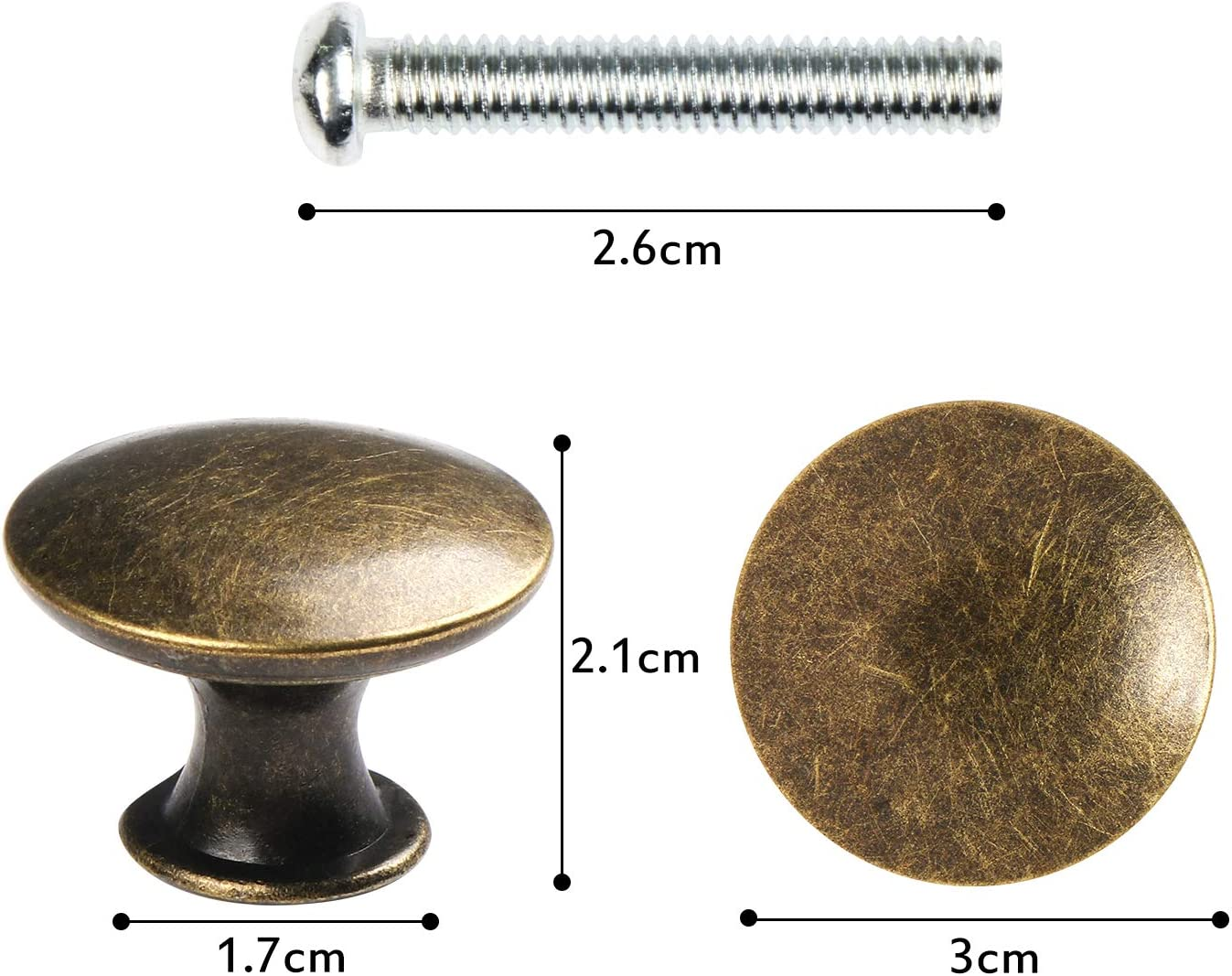 Pomos para cajones 12 unidades, lat/ón antiguo, di/ámetro de 30 mm Kyrio