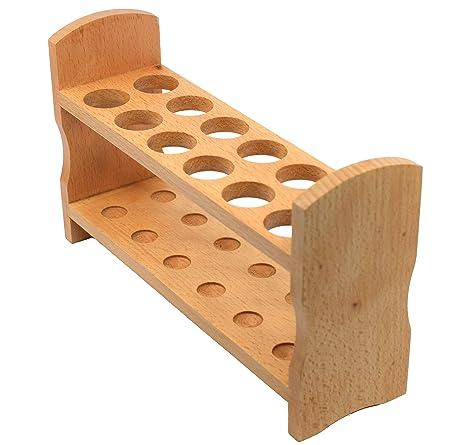 Eisco Labs Premium Wooden Test Tube Rack, 9.5 Long 22mm Holes 6