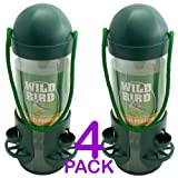 Hanging Plastic Wild Bird Feeder - Bird Feeder with 3 Ports and 3 Perches - Easy to refill - Perfect way to attract hug range of wild birds to garden (Pack of 4)