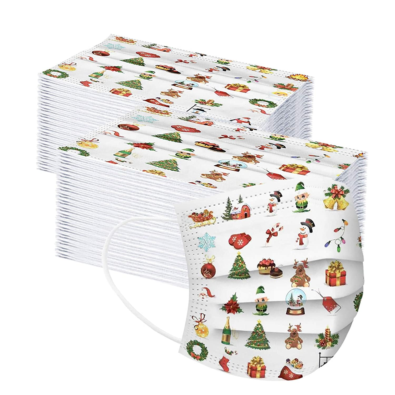 Serria-es 50 Piezas Adulto+50 Piezas Niño Mäscarilla antivirus de Una Sola Vez Impresión 3 Capas de cuadros navideños Protección