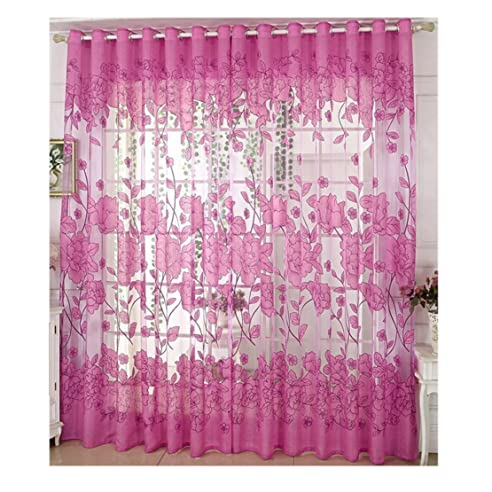 Ruikey Transparent Gardinen Violett Vorhang Fenster Blatt Muster ...