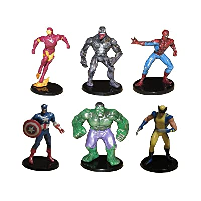 TOP Satisfied Avengers with Spiderman Playset 6xPACK Figure Cake Topper TV Movie Comics Toy Doll Set Venom Hulk Captain America Wolverine Iron Man
