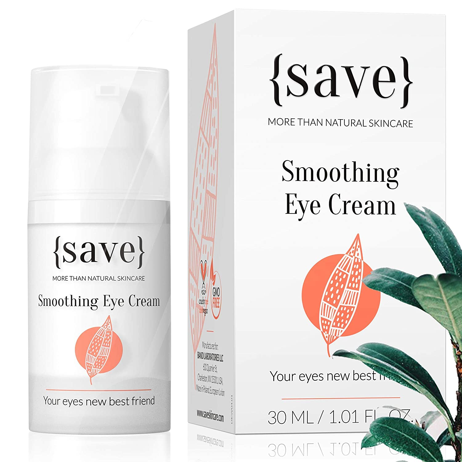 Natural Sensitive Eye Cream with Anti-Wrinkle Support, All Natural and Vegan, for Sensitive Dry Skin, Dark Circles, Bags and Puffiness | 1.01 Fl. Oz.