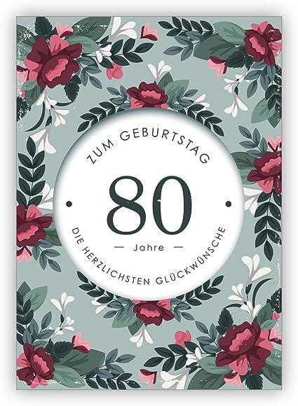 Fiori 80 Anni.Set Da 5 Pezzi Biglietto Di Auguri Elegante Con Fiori Decorativi